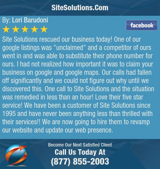 SiteSolutions.com 5-Star Review - Barudoni Construction - Customer Since 1995